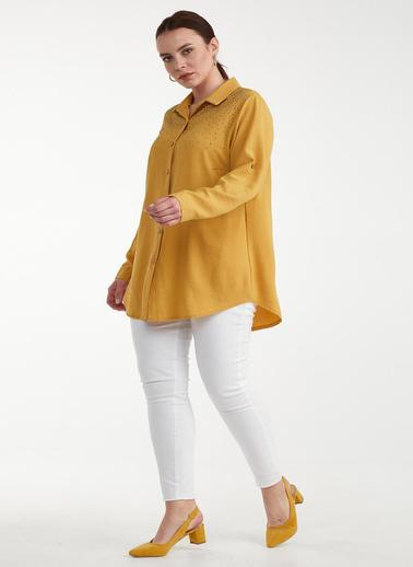 Sementa Kadın Taşlı Detaylı Büyük Beden Gömlek  Sarı